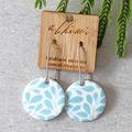 Porcelain Earrings ○ Handmade Sustainable Jewellery ○ Circle ○ Blue Floral