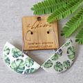 Porcelain Earrings ○ Handmade Sustainable Jewellery ○ Semi ○ Monstera Fern