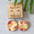 Porcelain Earrings ○ Handmade Sustainable Jewellery ○ Circle ○ Autumn Leaves