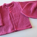 Pink Cardigan and hat - Newborn - pure wool - Hand knitted