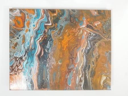 """Summer"" Acrylic pour artwork"