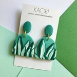 Polymer clay earrings, statement earrings in tropical green rainforest