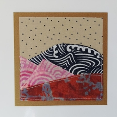 Blank greeting card - Fabric collage landscape - Starry Evening Sunset-Mountains