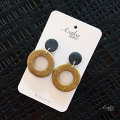 Dark gold donut - large dangle earring
