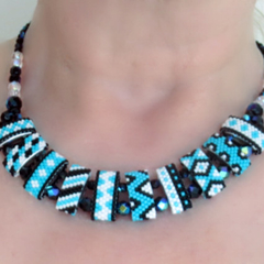 Turquoise, Black and White Carrier Bead Necklace