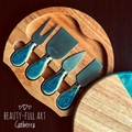 Resin Art Cheeseboard and Knife Set, Wooden Serving Board, Foodie Gift.