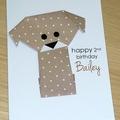 Boys or Girls Birthday card - puppy dog -personalised