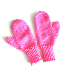 Childs Mittens , Pink , Wool, Hand Knit