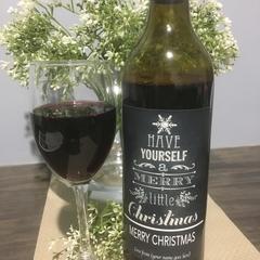 Christmas Wine Label (set 2) Self Adhesive Personalised
