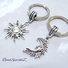 Silver Sun and Moon Keyrings, Two Keyrings