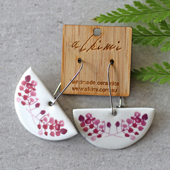 Porcelain Earrings ○ Handmade Sustainable Jewellery ○ Semi ○ Elderberry