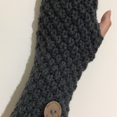 Dark grey charcoal fingerless gloves handwarmers mens or ladies texting gloves