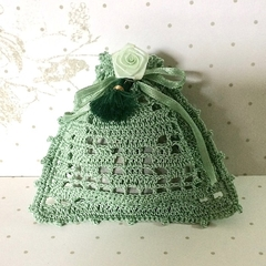 Green Hand Crocheted Lavender Bag with Green Rose and Tassel