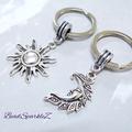 Silver Sun and Moon Keyrings, Two Keyrings
