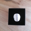Silver shield ring,  light planishing texture, size AU M ( x small)