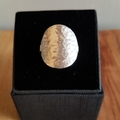 Silver shield ring, planishing texture, size AU N (small)