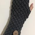 Dark grey charcoal fingerless gloves handwarmers mens or ladies texting gloves