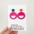 Mismatched Bright Statement Earrings Green, Orange, Pink
