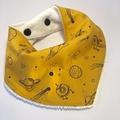 Mustard Space Bandana Bib, Bamboo Bib, Baby Bib