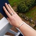 Silver raw silk textured cuff bangle, small size.