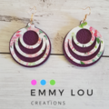 Double Layer Deep Purple and Pink Floral Cut-Out Round Faux Leather Earrings