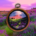 Lavender Field embroidered Art, thread painting