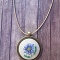 Crossstitched flower necklace, Cross stitched Daisy pendant, Flower Pendant