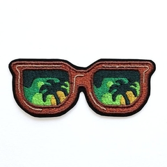 Sunglasses and Palm Tree Embroidered Patch Iron on Patch or Badge