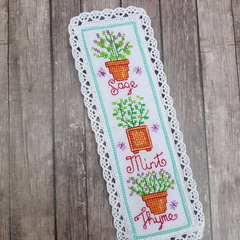 Handmade Embroidered Bookmark, Herbs Trio, Cross stitched bookmark