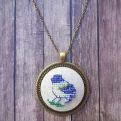 Cross stitched necklace with the Bird, Cross stitched bird pendant