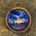 Desert Landscape embroidered Art, thread painting