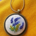 Cross stitched lavender necklace, Cross stitched lavender pendant