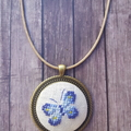 Cross stitched Buterfly necklace, Cross stitched Butterfly pendant