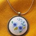 Cross stitched floral necklace, Cross stitched floral pendant, Floral Necklace