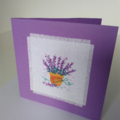 Cross stitch Greeting card Lavender, Handmade Lavender Card