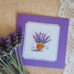 Cross stitch Greeting card Lavender, Handmade Lavender Card
