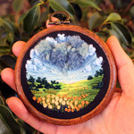Golden Day embroidered Art, thread painting