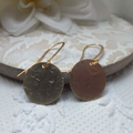 Matt Gold Hammered Disk (Medium) Earrings on Gold Plated Tall French Nickel Free