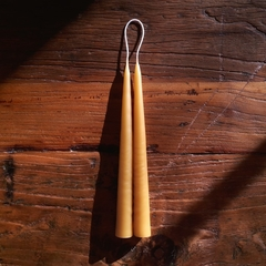 Hand Dipped Beeswax Taper Candles, Pair