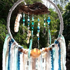 Dream Catcher Wind Catcher Beach Mermaid Sea Glass Blue Aqua Turquoise Starfish