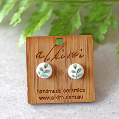 8mm Leaf ○ Porcelain Earrings ○ Handmade Sustainable Jewellery