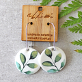 Leaf ○ Porcelain Earrings ○ Handmade Sustainable Jewellery ○ Circle ○