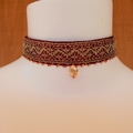 Wine Red & Gold Choker Necklace