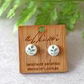 8mm Leaf ○ Porcelain Earrings ○ Handmade Sustainable Jewellery