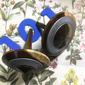 Two Hand Turned Spinning Tops 'Argentea Timber' (Items A 101 a & b)