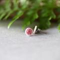 8mm Pink Flower ○ Porcelain Earrings ○ Handmade Sustainable Jewellery