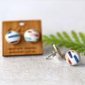 Rainbow Stripe ○ Ceramic Earrings ○ Handmade Sustainable Jewellery