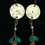 BOHO style Brass earrings with green and orange saphires