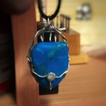Blue Agate in silver and brass wire wrap setting