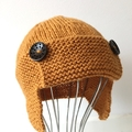 6 - 12 mths Baby , FREE POST Earflap Aviator Beanie Hat , Gold, Wool , Hand Knit